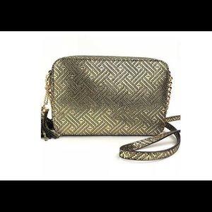 MK Ginny Gold Metallic Leather Crossbody Bag